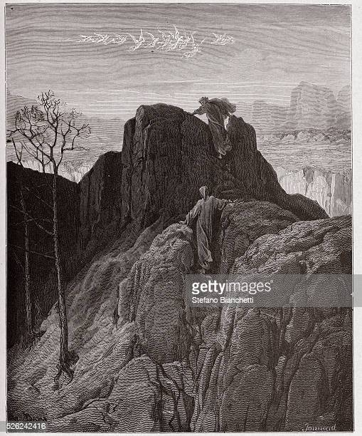 The Divine Comedy , Purgatorio, Canto 4 : Virgil leads Dante up the rugged mountainside - by Dante Alighieri - Engraving by Gustave Dore , 1885