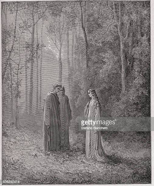 The Divine Comedy , Purgatorio, Canto 5 : Dante speaks with Pia de Tolomei - by Dante Alighieri - Engraving by Gustave Dore , 1885
