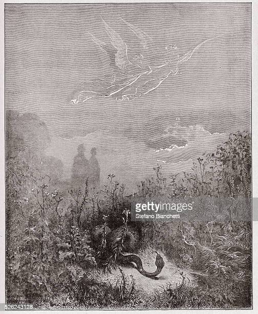 The Divine Comedy , Purgatorio, Canto 8 : The angels drive the serpent away - by Dante Alighieri - Engraving by Gustave Dore , 1885