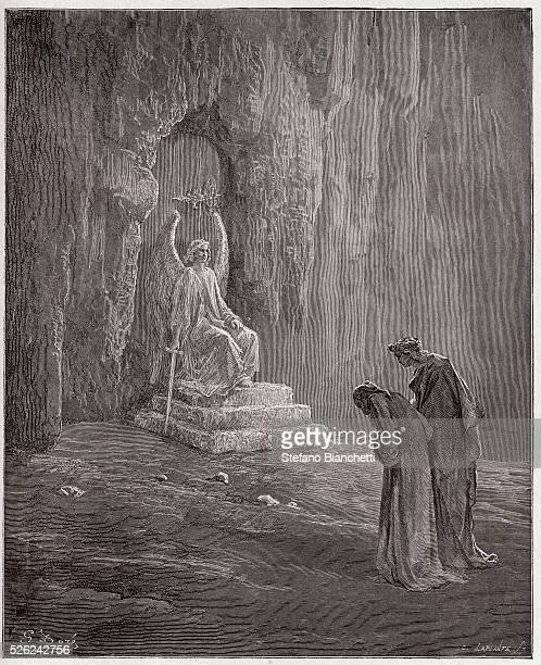 The Divine Comedy , Purgatorio, Canto 9 : Dante and Virgil at the portals of Purgatory - by Dante Alighieri - Engraving by Gustave Dore , 1885