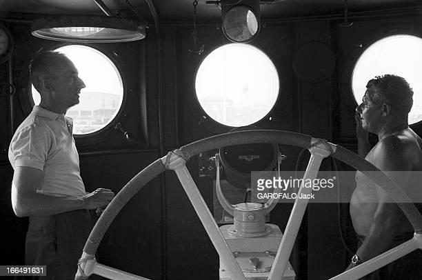 The Diving Saucer Of Commander Cousteau Côte d'Azur Marseille 23 juillet 1959 Les premiers essais de la soucoupe plongeante conçue par le Commandant...