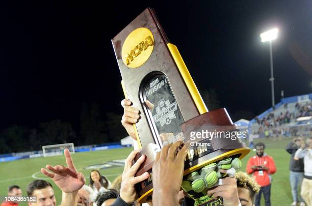 The Division I Men's Soccer Championship trophy after the game between the Maryland Terrapins and the Akron Zips at Meredith Field at Harder Stadium...
