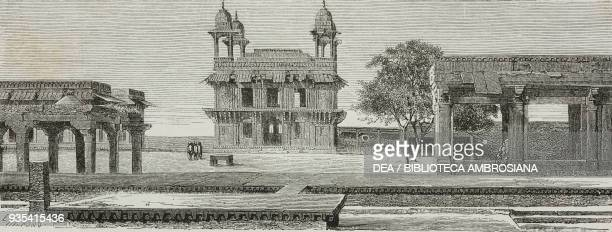 The Diwan-i-Khas and the Pachisi court, Fathepur Sikri, engraving from India: travel in Central India and Bengal by Louis Rousselet .