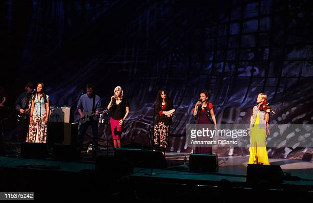 The Dixie Chicks join Emmylou Harris on stage at the Concert for Artists' Rights at the Universal Amphitheatre in Universal City California February...