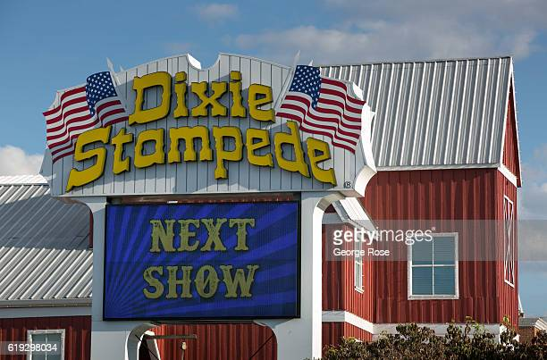 The Dixie Stampede theater is viewed along The Parkway on October 18 2016 in Pigeon Forge Tennessee Located near the entrance to Great Smoky...