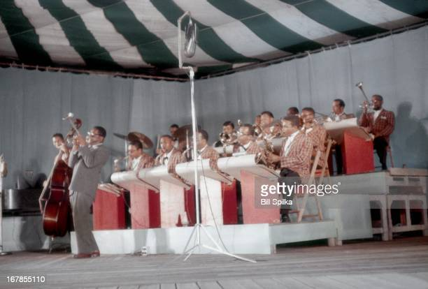 The Dizzy Gillespie Orchestra performs at the Newport Jaszz festival on July 6 1957 in Newport Rhode Island