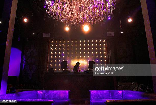 The DJ booth and the chandelier in the middle of the main room of AV a new Hollywood super–club with smaller capacity DJ–focused venue for Cahuenga...