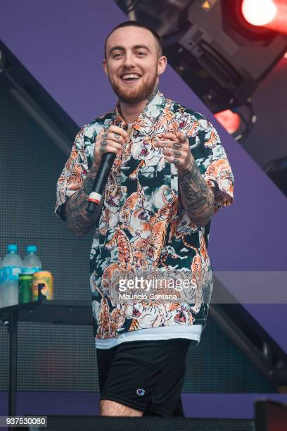 The DJ Mac Miller performs live on stage during the second day of Lollapalooza Brazil Festival at Interlagos Racetrack on March 24, 2018 in Sao...