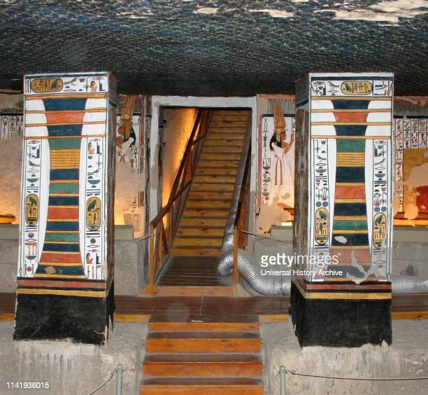 The Djed pillar a symbol in Ancient Egypt representing stability It is associated with the creator god Ptah and Osiris Wall painting in the Egyptian...