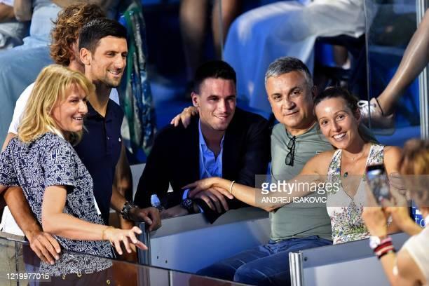The Djokovic family, Novak's mother Dijana, Novak Djokovic, Novak's brother Djordje, Novak's father Srdjan and Novak's wife Jelena pose during the...