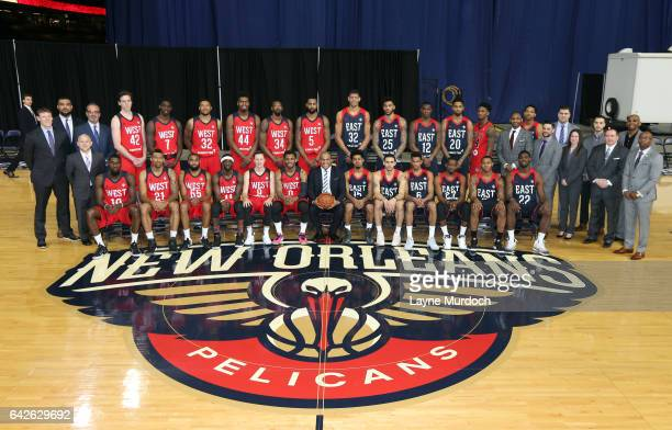 The DLeague All Stars pose for a group photo during the NBA DLeague All Star Game as part of 2017 AllStar Weekend at the MercedesBenz Super Dome on...