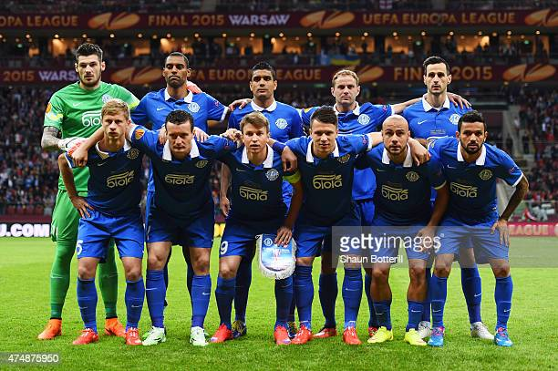 The Dnipro team line up during the UEFA Europa League Final match between FC Dnipro Dnipropetrovsk and FC Sevilla on May 27 2015 in Warsaw Poland