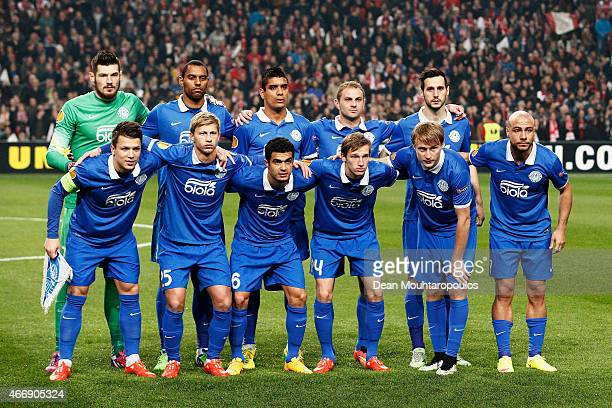 The Dnipro team pose for the cameras prior to kickoff during the UEFA Europa League Round of 16 second leg match between AFC Ajax v FC Dnipro...