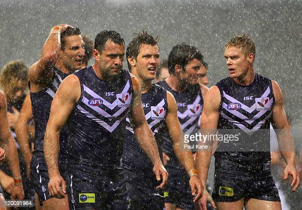 The Dockers head to the changerooms at halftime during the round 19 AFL match between the Fremantle Dockers and the Hawthorn Hawks at Patersons...