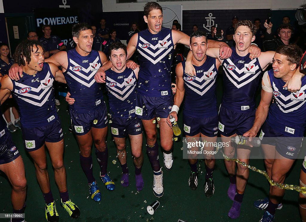 The Dockers players celebrate their win during the AFL Second Preliminary Final match between the Fremantle Dockers and the Sydney Swans at Patersons Stadium on September 21, 2013 in Perth, Australia.