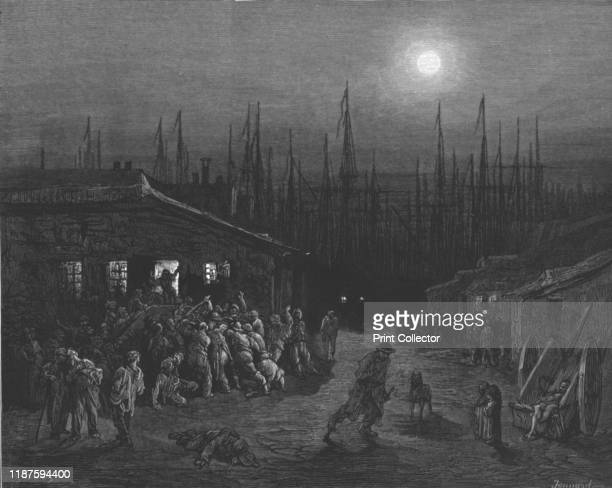 The DocksNight Scene' 1872 Night scene outside a public house in Surrey Docks South East London From LONDON A Pilgrimage by Gustave Dore and...