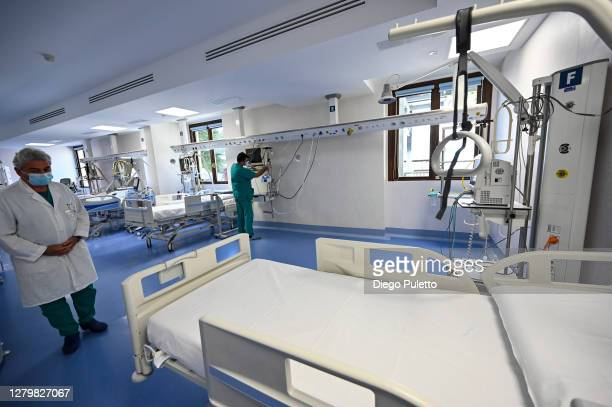 The doctor checks the lung respirators in the area dedicated to Covid 19 inside the Mauritian hospital in Turin on October 12, 2020 in Turin, Italy....