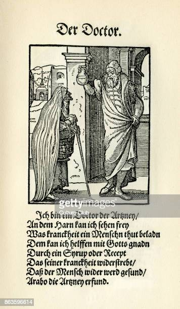 The doctor from Das Standebuch Collection of woodcuts by Jost Amman 1568 with accompanying rhyme by Hans Sachs