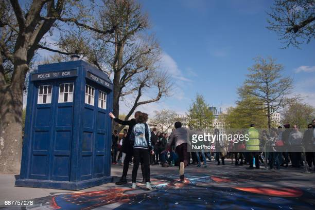The Doctor Who's TARDIS is pictured at Southbank London on April 12 2017 A TARDIS appeared near the London Eye for the presentation of the tenth...
