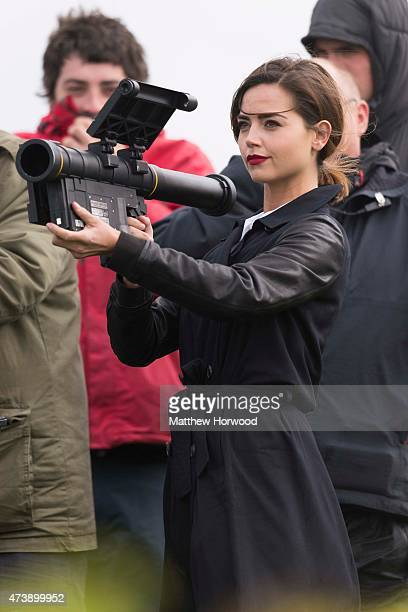 The Doctor's companion Jenna Coleman who plays Clara Oswald is spotted holding a rocket launcher during filming for the ninth series of BBC show...