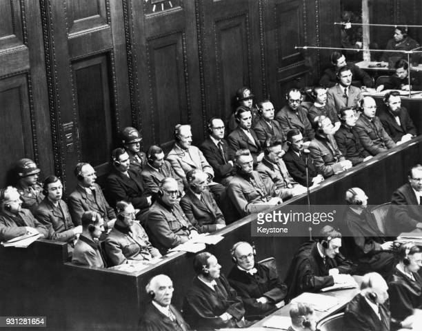 The Doctor's Trial, part of the Nuremberg trials for war crimes in Germany, following World War II, 21st January 1947. From left to right, the...