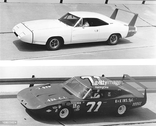 The Dodge Charger Daytona shown as both the street version and the NASCAR Grand National version