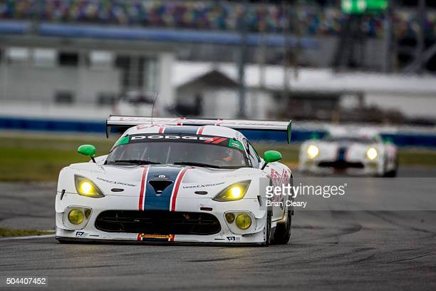 The Dodge Viper of Ben Keating Gar Robinson Jeff Mosing Eric Ross and Damien Faulkner drives on the track during the Roar Before the 24 IMSA...