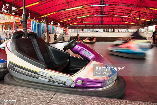 The dodgems, bumper car rides in the esplande in Bridlington, East Yorkshire, England, UK