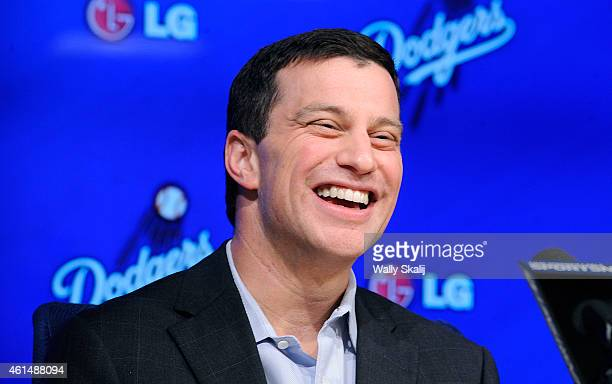 The Dodgers newly appointed President of Baseball Operations Andrew Friedman answers questions during a press conference October 17 2014 in Los...