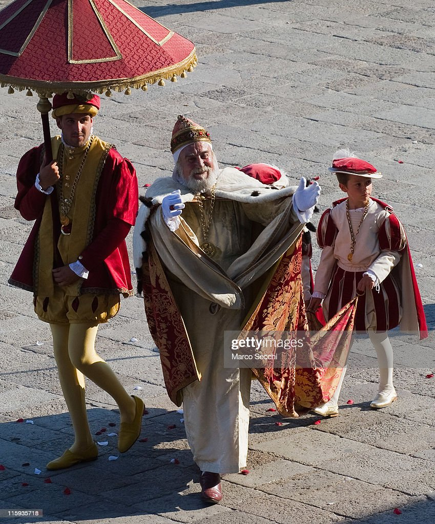 The Doge takes part in the Historical Pageant ahead of the Regatta of the Ancient Maritime Republics on June 12, 2011 in Venice, Italy. The idea of the Regatta of the Ancient Maritime Republics was realized in 1955 and the first edition took place in Genova.