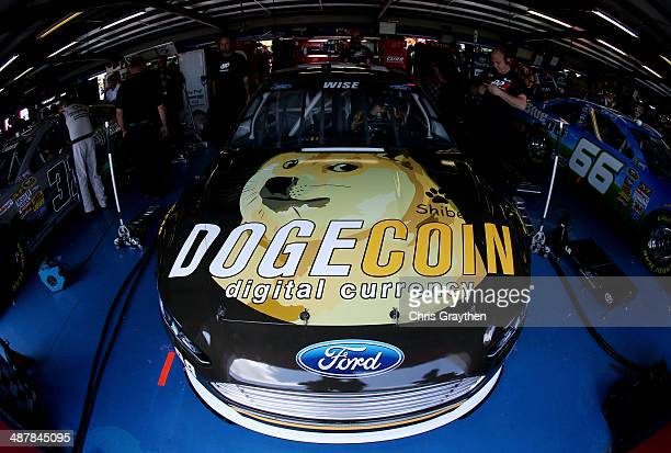 The Dogecoin / Redditcom Ford driven by Josh Wise is seen in the garage during practice for the NASCAR Sprint Cup Series Aaron's 499 at Talladega...