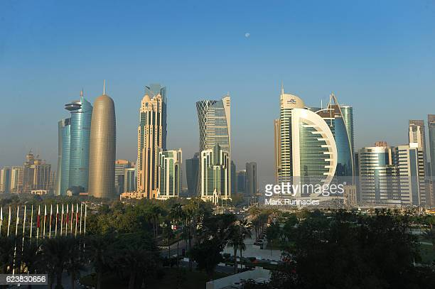 The Doha Skyline at sunrise on the fifth day of the 21st ANOC General Assembly at the Sheraton Grand Hotel on November 17 2016 in Doha Qatar