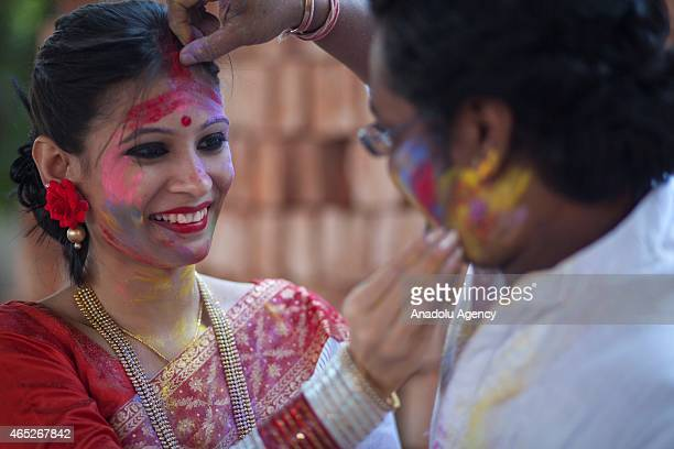 The Dol Utsav a festival of the Hindu community is celebrated with colored powder at the time of Holi in Dhaka Bangladesh on March 05 2015