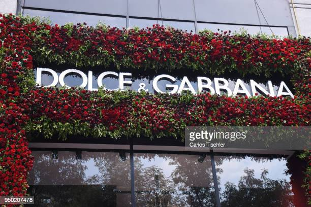 The Dolce Gabbana store is seen decorated with fkowers for 'Mexico and its Colors' to celebrate spring as part of the Flower Festival inspired by the...