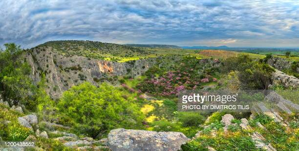 the doline of petroporos panorama east side - dimitrios tilis stock pictures, royalty-free photos & images