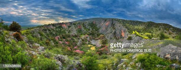 the doline of petroporos panorama west side - dimitrios tilis stock pictures, royalty-free photos & images