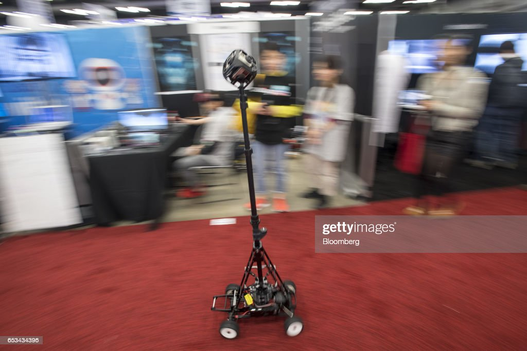 The Dolly 360 robotic device made by KidsPlates is demonstrated at the 2017 South By Southwest (SXSW) Interactive Festival at the Austin Convention Center in Austin, Texas, U.S., on Tuesday, March 14, 2017. The SXSW Interactive Festival features a variety of tracks that allow attendees to explore what's next in the worlds of entertainment, culture, and technology. Photographer: David Paul Morris/Bloomberg via Getty Images