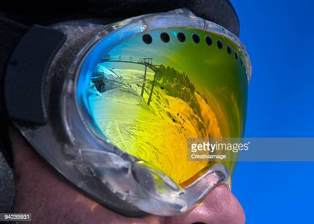 le dolomiti negli occhiali - face guard sport stock pictures, royalty-free photos & images