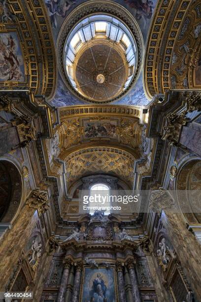 The dome and ceiling decorations of S.Carlo in Corso,Rome.