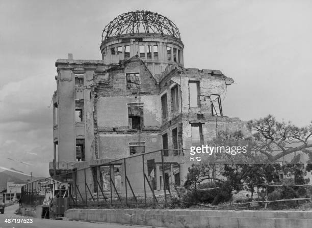 The dome marking the central impact zone of the atomic bomb at the end of World War Two falling into further disrepair eight years after the blast...