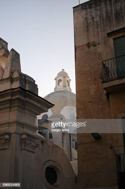 The dome of a church in Capri at sunrise