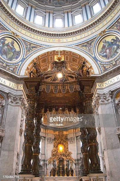 The dome of Basilica San Pietro St Peter's Basilica foreground is the baldacchino by Bernini the bronze canopy is directly over the site of St...