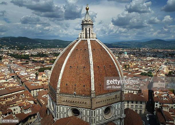 The dome of Florence Cathedral also known as Il Duomo di Firenze seen from Giotto's Campanile on July 31 2011 in Florence Italy The Duomo was built...