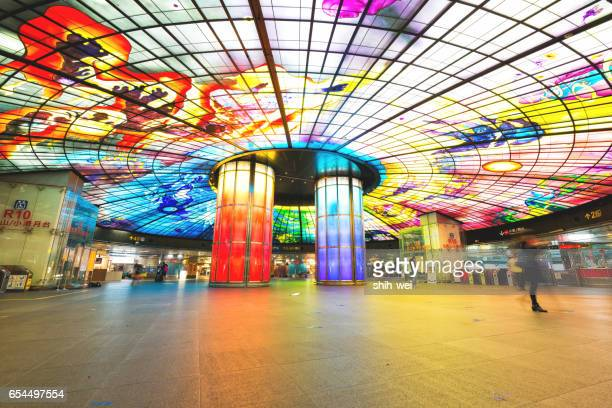 kaohsiung city, taiwan - may 18, 2014: the dome of light at formosa boulevard station, the central station of kaohsiung subway system in kaohsiung city, taiwan. - boulevard stock pictures, royalty-free photos & images