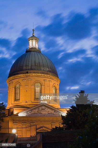 The dome of SaintJoseph chapel at the hospital of La Grave in Toulouse in the HauteGaronne department Here the lights of the chapel at nightfall