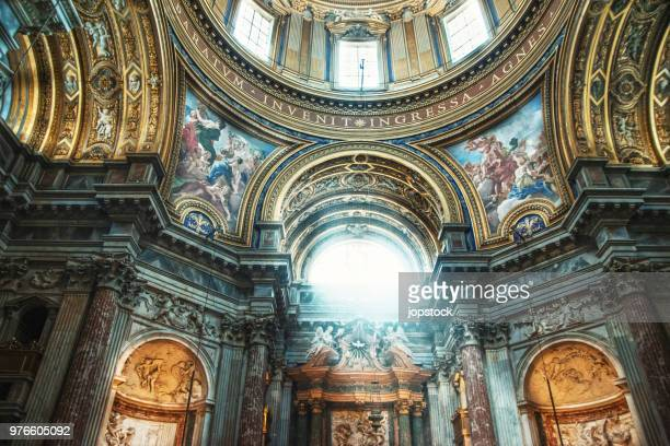 the dome of sant'agnese in agone church in rome, italy - baroque stock pictures, royalty-free photos & images