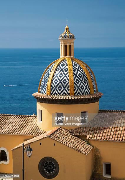 The Dome of the Church of Praiano. Amalfi Peninsul