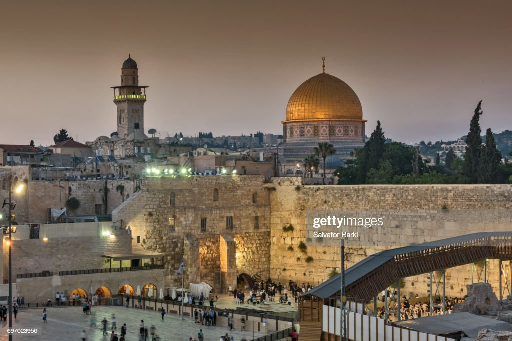 The Dome of the Rock and the Waling Wall : Stock Photo