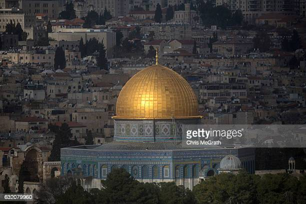 The Dome of the Rock at the AlAqsa mosque compound is seen from the Mount of Olives on January 13 2017 in Jerusalem Israel 70 countries attended the...