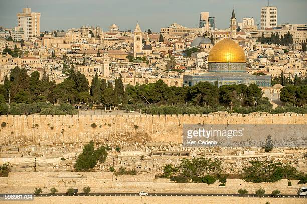 The Dome of the Rock in the Old City of Jerusalem as seen from the Mount of Olives over looking the old cemetery April 2014 The Old City has gone...